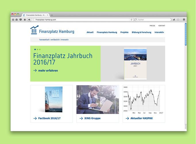 Die Website des Finanzplatz Hamburg präsentiert das Jahrbuch