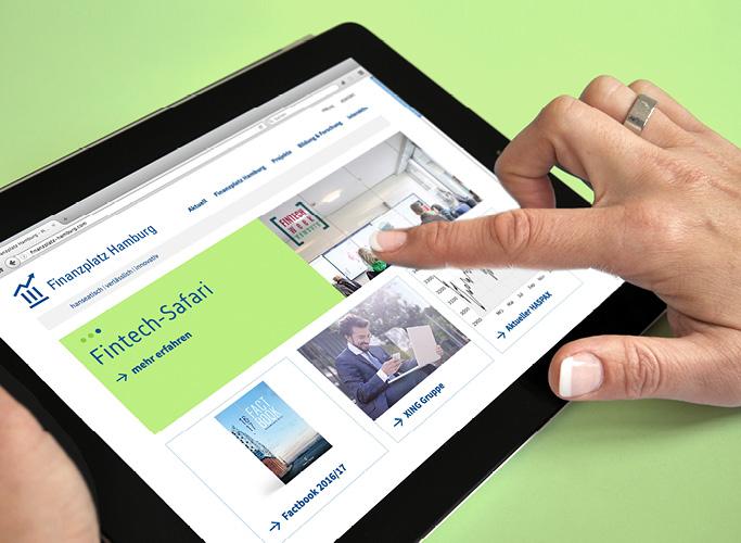 Der Finanzplatz Hamburg ist auf dem Tablet responsive