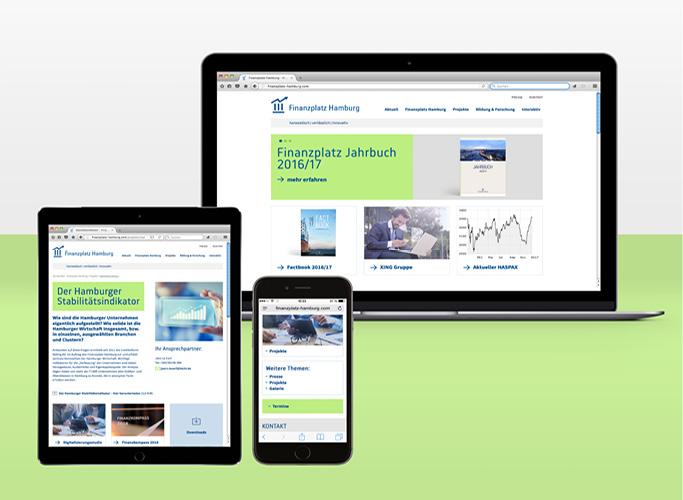 Ob im Browser oder mobil - der Finanzplatz Hamburg passt sich intelligent Ihrem Endgerät an