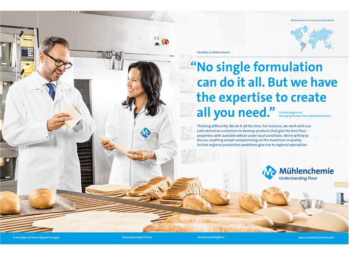 ondesign entwickelt im Rahmen des neuen Corporate Designs eine neue Anzeigen-Systematik - Menschen mit Backwaren im Labor