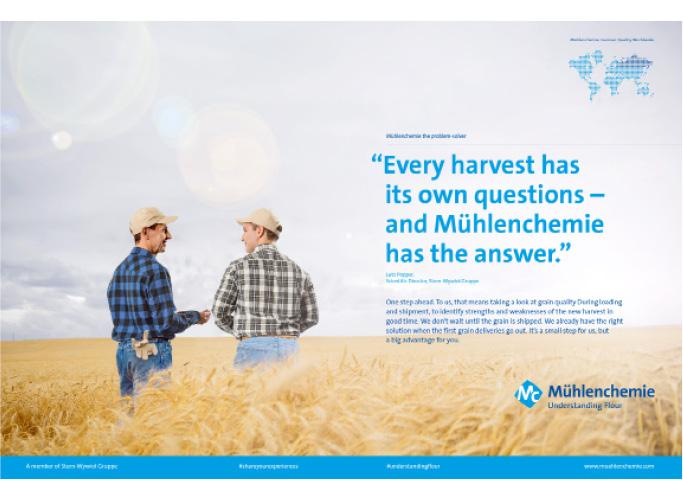 ondesign entwickelt im Rahmen des neuen Corporate Designs eine neue Anzeigen-Systematik - Männer im Weizenfeld