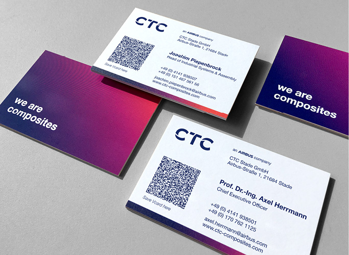 ondesign realisiert für das AIRBUS-Tochterunternehmen CTC eine neue Corporate Identity - Visitenkarten