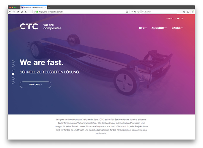 ondesign realisiert für das AIRBUS-Tochterunternehmen CTC eine neue Corporate Identity - Website Startseite