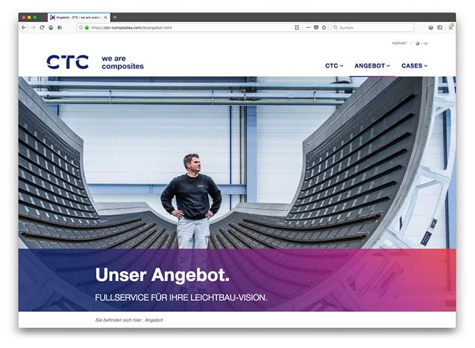 ondesign realisiert für das AIRBUS-Tochterunternehmen CTC eine neue Corporate Identity - Website Unterseite