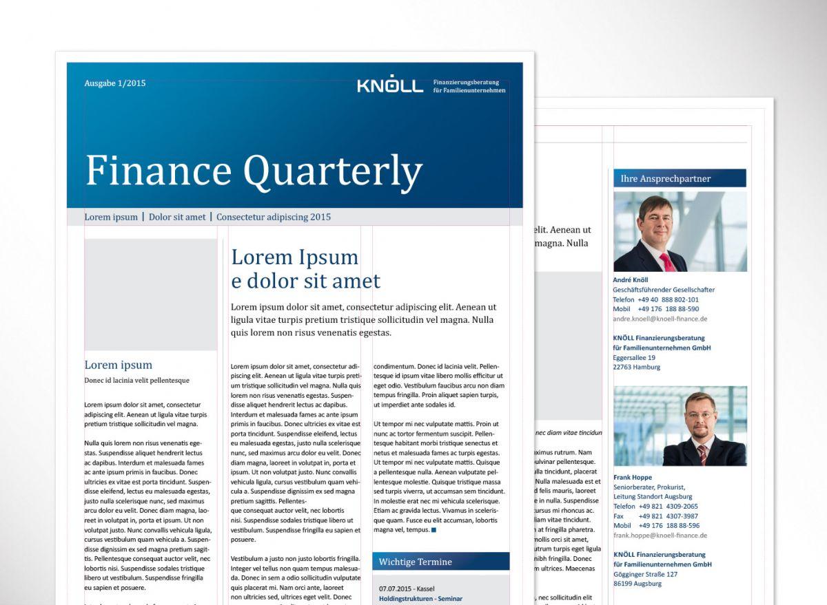 Das Broschürendesign des Finanzierungsexperten Knöll