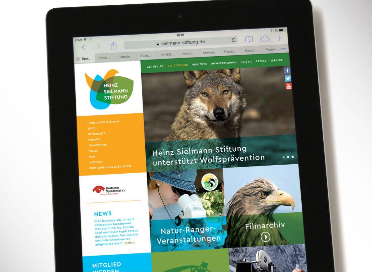 Die Menüführung der neuen Homepage der Heinz Sielmann Stiftung
