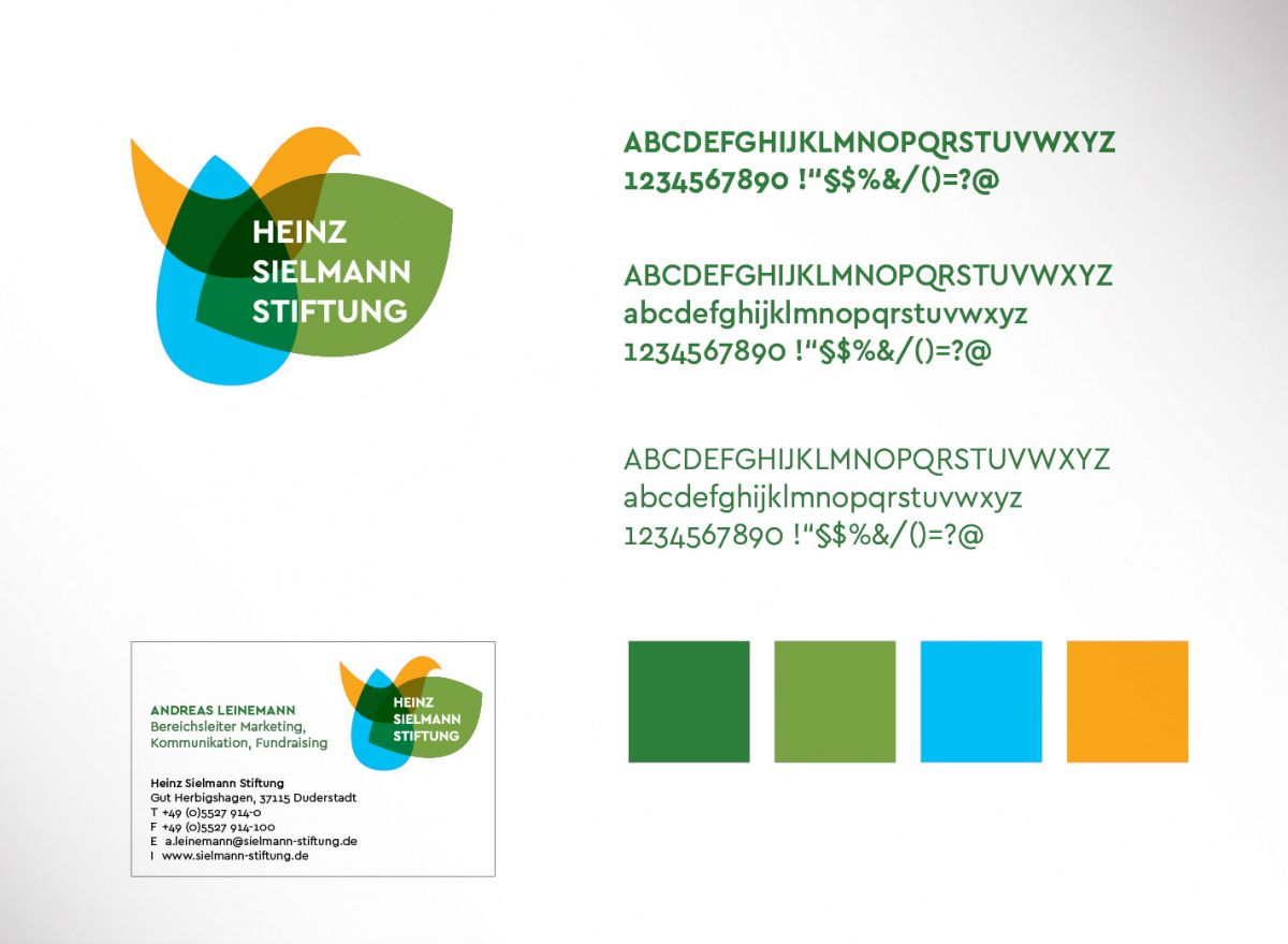 Der Markenauftritt der Heinz Sielmann Stiftung orientiert sich an klarer Typologie und passenden Farben