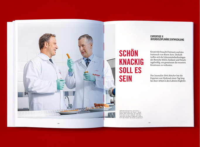 Inside of the jubilee booklet with photo of scientists in the Hydrosol laboratories