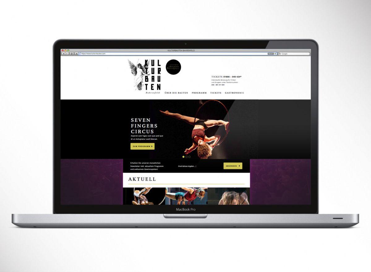Die neu entwickelte Website der Kulturbauten Bahrenfeld
