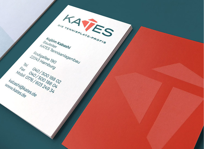 Kates Tennis Court Professionals business cards with sndpaper finishing