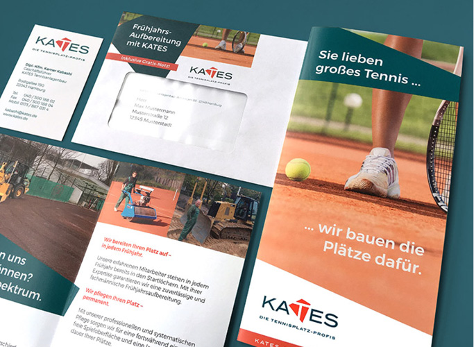 Umfassende Kundenwerbung mit Flyer, Briefbogen und Visitenkarte im passendem Umschlag